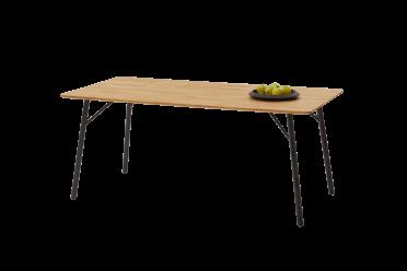 Wildeiche massiv Tisch, Vierfußgestell, Rundrohr